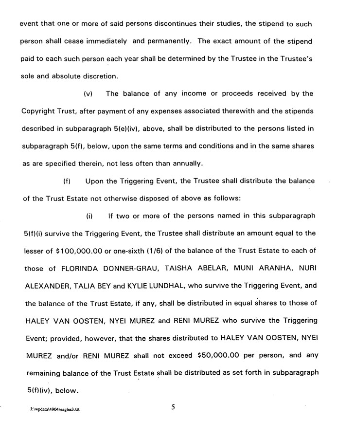 Sample Page 1 From The Eagles Trust Agreement